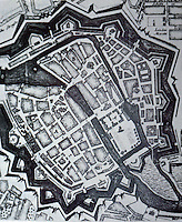 """Berlin: Fortified Town of 1733. """"accurately conveys  very small size..."""" From METROPOLIS 1890-1940. Reference only."""