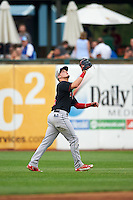 Great Lakes Loons outfielder Alex Verdugo (9) catches a shallow fly ball during a game against the Kane County Cougars on August 13, 2015 at Fifth Third Bank Ballpark in Geneva, Illinois.  Great Lakes defeated Kane County 7-3.  (Mike Janes/Four Seam Images)