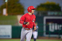 Springfield Cardinals infielder Evan Mendoza (4) jogs for third on May 18, 2019, at Arvest Ballpark in Springdale, Arkansas. (Jason Ivester/Four Seam Images)