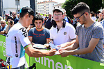 Michal Kwiatkowski (POL) Team Sky interviewed with fans at sign on for Stage 5 of the 2018 Criterium du Dauphine 2018 running 130km from Grenoble to Valmorel, France. 8th June 2018.<br /> Picture: ASO/Alex Broadway | Cyclefile<br /> <br /> <br /> All photos usage must carry mandatory copyright credit (© Cyclefile | ASO/Alex Broadway)