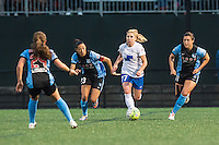 Allston, MA - Saturday, May 07, 2016: Chicago Red Stars forward Christen Press (23), Boston Breakers midfielder McCall Zerboni (77) and Chicago Red Stars forward Sofia Huerta (11) during a regular season National Women's Soccer League (NWSL) match at Jordan Field.
