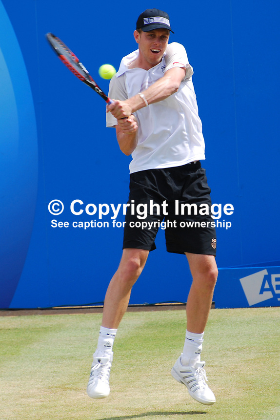 Sam Querry, USA, on his way to beating fellow American Mardy Fish in straight sets 7-6 7-5 in the final of the AEGON Championships at Queen's Club, London, UK, on Sunday, 13 June 2010. Ref: 201006134313..Copyright Image from Victor Patterson, 54 Dorchester Park, Belfast, UK, BT9 6RJ..Tel: +44 28 9066 1296.Mob: +44 7802 353836.Voicemail +44 20 8816 7153.Skype: victorpattersonbelfast.Email: victorpatterson@mac.com.Email: victorpatterson@ireland.com (back-up)..IMPORTANT: If you wish to use this image or any other of my images please go to www.victorpatterson.com and click on the Terms & Conditions. Then contact me by email or phone with the reference number(s) of the image(s) concerned.
