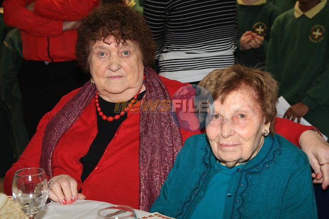 Florence Maher and Ethna Tropman.having there christmas dinner int he Dermot Kierans Centre..Picture Fran Caffrey/www.newsfile.ie.