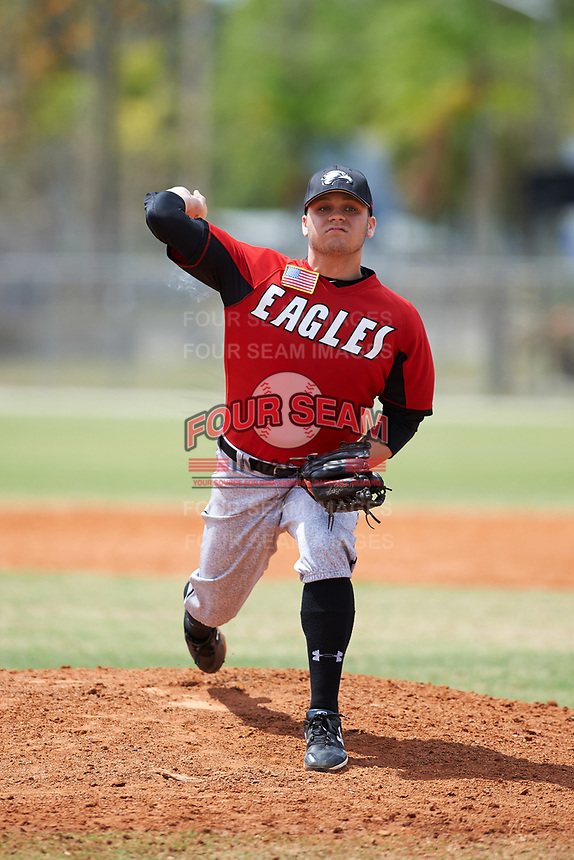 Edgewood College Eagles pitcher Jared Horton (5) delivers a pitch during a game against the New York University Violets on March 14, 2017 at Terry Park in Fort Myers, Florida.  NYU defeated Edgewood 12-7.  (Mike Janes/Four Seam Images)