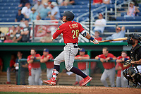 State College Spikes Carlos Soto (28) bats during a NY-Penn League game against the Batavia Muckdogs on July 2, 2019 at Dwyer Stadium in Batavia, New York.  Batavia defeated State College 1-0.  (Mike Janes/Four Seam Images)