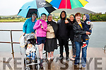 Sheltering from the rain at the OTW regatta on Sunday in Cahersiveen were l-r; Ryan Riordan, Bridget Daly, Catherine O'Connell, Mary O'Connell, Lee Jeffrey, Catherine O'Connell, Eileen Riordan & Dylan Riordan all supporting the Valentia Crews.