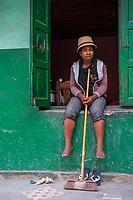 Africa, Madagascar, Ambatolampy village. People working in aluminum foundry.