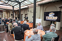 Chair of the Football Action Team Vance Mueller '86 P'16<br /> Occidental College alumni, staff and other members of the Oxy community gather in support of the football program, March 10, 2018 on Branca Patio.<br /> In January 2018 a 16-member task force of trustees, faculty, students, staff and alumni met to determine the fate of the football program in the wake of the premature end of the 2017 season. The College is moving full speed ahead with preparations for the 2018 season, led by the Football Action Team.<br /> (Photo by Marc Campos, Occidental College Photographer)