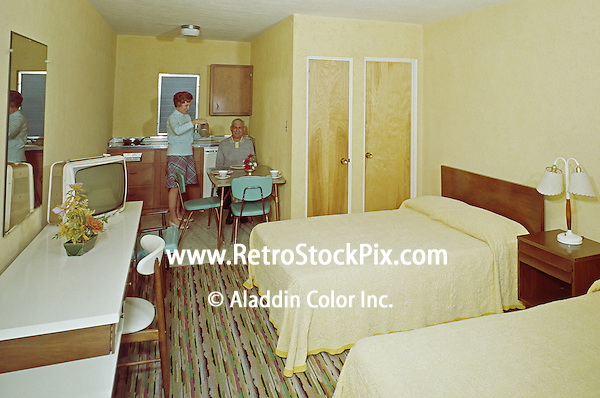 Golden Nugget Motel, Wildwood, NJ.  1959 Couple having coffee in their motel room. .