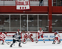 BOSTON, MA - FEBRUARY 16: Kate Stuart #1 of Boston University with 'Goalie' banner during a game between University of New Hampshire and Boston University at Walter Brown Arena on February 16, 2020 in Boston, Massachusetts.