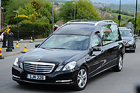 Pictured: The casket of Carson Price arrives at the Gelligaer Church, in Gelligaer, Wales, UK Tuesday 07 May 2019<br /> Re: Funeral of 13 year old Carson Price at Gelligaer Church, in Gelligaer, Wales, UK.<br /> Schoolboy Carson Price was found at a park in Ystrad Mynach, south Wales at the start of the Easter school holidays.<br /> It is believed he had taken MDMA Donkey Kong tablets.