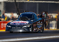 Feb 9, 2018; Pomona, CA, USA; NHRA funny car driver Del Worsham during qualifying for the Winternationals at Auto Club Raceway at Pomona. Mandatory Credit: Mark J. Rebilas-USA TODAY Sports