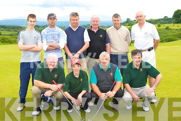 The Glengarriff team that played in the Jimmy Bruen competition in Castleisland Golf Course on Saturday night front row l-r: Eddie Mullins, Kieran McIllhinney, Tim Healy, John O'Donoghue. Back row: Matthew O'Shea, Marti-Jer O'Sullivan, Dan Carney, Sean Hurley manager, Gerard Galvin and Michael McNamara    Copyright Kerry's Eye 2008