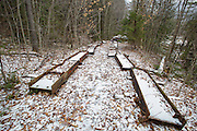 November 2012 - Site of steel footbridge which crossed Black Brook along the Wilderness Trail (Trestle 16 location of the EB&L RR) in the Pemigewasset Wilderness of New Hampshire. This bridge removal is part of the 180 foot suspension bridge removal 1/2 -/+ mile east of this location along the Wilderness Trail. Per the Wilderness Act, only non-motorized equipment can be used to remove this material. This image is November 2012.