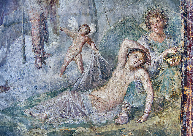 Roman fresco wall painting of Dionysus who, with the aid of a cupid, discovers Ariadne in a deep sleep at the foot of Hypnos, Pompeii VI 14,30, inv 111210, Naples National Archaeological Museum