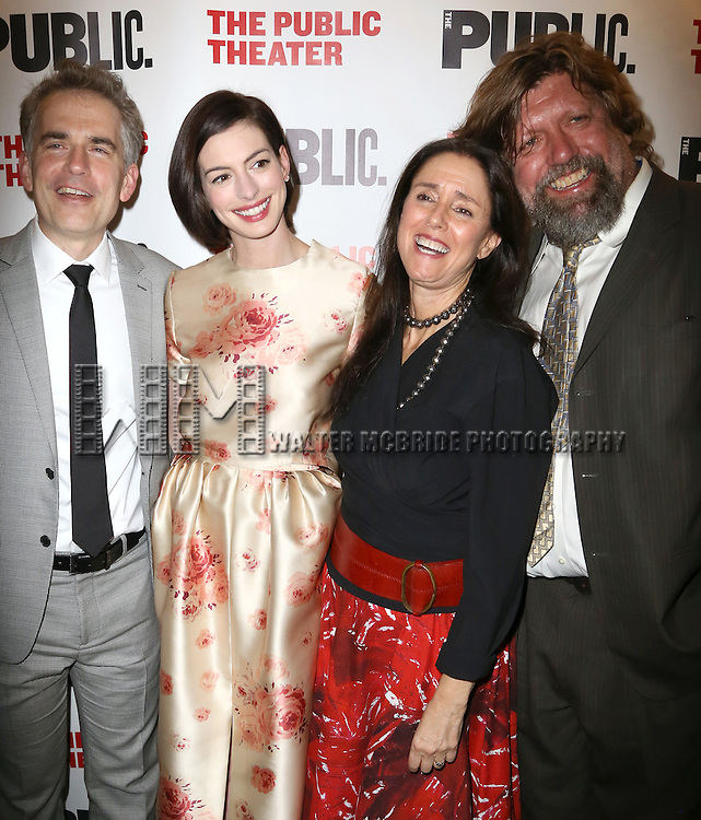 George Brant, Anne Hathaway, Julie Taymor and Oscar Eustis attends the Opening Night Celebration of 'Grounded' at the The Public Theatre on April 24, 2015 in New York City.