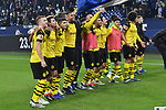 08.12.2018, Veltins-Arena, Gelsenkirchen, GER, 1. FBL, FC Schalke 04 vs. Borussia Dortmund, DFL regulations prohibit any use of photographs as image sequences and/or quasi-video<br /> <br /> im Bild Schlussjubel / Schlußjubel / Emotion / Freude / der Mannschaft von Dortmund vor der Fankurve / Fans / Fanblock / <br /> <br /> Foto © nordphoto/Mauelshagen