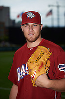 Lehigh Valley IronPigs pitcher Jake Thompson (33) poses for a photo before a game against the Columbus Clippers on May 12, 2016 at Huntington Park in Columbus, Ohio.  Lehigh Valley defeated Columbus 2-1.  (Mike Janes/Four Seam Images)