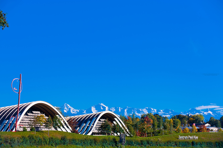 Exterior of the Zentrum Paul Klee (art gallery) by Italian architect Renzo Piano, with peaks of the Swiss Alps in the background, Bern, Canton Bern, Switzerland