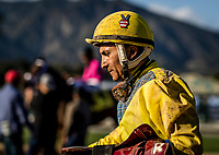 ARCADIA, CA -APRIL 08: Jockey, Rafael Bejarano at Santa Anita Park on April 08, 2017 in Arcadia, California. (Photo by Alex Evers/Eclipse Sportswire/Getty Images)