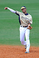 18 March 2012:  FIU shortstop Julius Gaines (2) throws to first base as the Florida Atlantic University Owls defeated the FIU Golden Panthers, 9-3, at University Park in Miami, Florida.