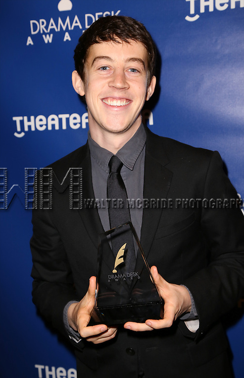 Alex Sharp visits the 2015 Drama Desk Awards Media Room at Marriott Marquis Times Square on May 31, 2015 in New York City.