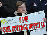 A protester against the closure of the Cottage Hospital. Photo: Colin Bell/pressphotos.ie