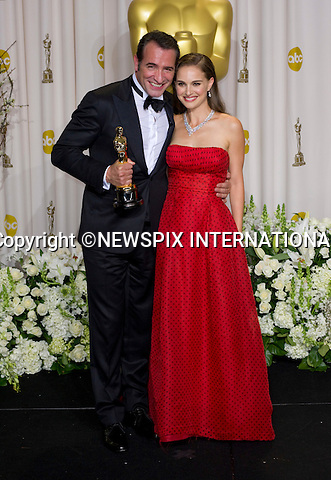 """JEAN DUJARDIN AND NATALIE PORTMAN.Dujardin winner of the Best Actor Award with Portman who made the presentation to him at the 84th Academy Awards, Kodak Theatre, Hollywood, Los Angeles_26/02/2012.Mandatory Photo Credit: ©Dias/Newspix International..**ALL FEES PAYABLE TO: """"NEWSPIX INTERNATIONAL""""**..PHOTO CREDIT MANDATORY!!: NEWSPIX INTERNATIONAL(Failure to credit will incur a surcharge of 100% of reproduction fees)..IMMEDIATE CONFIRMATION OF USAGE REQUIRED:.Newspix International, 31 Chinnery Hill, Bishop's Stortford, ENGLAND CM23 3PS.Tel:+441279 324672  ; Fax: +441279656877.Mobile:  0777568 1153.e-mail: info@newspixinternational.co.uk"""