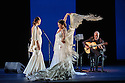 London, UK. 28.02.2016. Sadler's Wells presents Esperanza Fernandez in DE LO JONDO Y VERDADERO, as part of the Flamenco Festival London 2016. Picture shows: Marina Heredia, Ana Morales, Miguel Angel Cortes. Photograph © Jane Hobson.