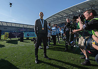 Manchester City manager Josep Guardiola  taking in the championship celebration <br /> <br /> Photographer David Horton/CameraSport<br /> <br /> The Premier League - Brighton and Hove Albion v Manchester City - Sunday 12th May 2019 - The Amex Stadium - Brighton<br /> <br /> World Copyright © 2019 CameraSport. All rights reserved. 43 Linden Ave. Countesthorpe. Leicester. England. LE8 5PG - Tel: +44 (0) 116 277 4147 - admin@camerasport.com - www.camerasport.com