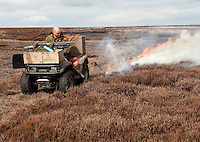 Gamekeepers burning heather, Arkengarthdale Moor, North Yorkshire