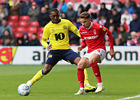 Blackburn Rovers' Amari'i Bell chases down Nottingham Forest's Matty Cash<br /> <br /> Photographer David Shipman/CameraSport<br /> <br /> The EFL Sky Bet Championship - Nottingham Forest v Blackburn Rovers - Saturday 13th April 2019 - The City Ground - Nottingham<br /> <br /> World Copyright © 2019 CameraSport. All rights reserved. 43 Linden Ave. Countesthorpe. Leicester. England. LE8 5PG - Tel: +44 (0) 116 277 4147 - admin@camerasport.com - www.camerasport.com
