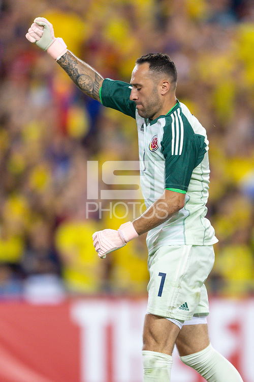 Tampa, FL - Thursday, October 11, 2018: David Ospina, celebration during a USMNT match against Colombia.  Colombia defeated the USMNT 4-2.