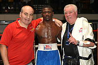 Elvis Makoda (blue shorts) defeats Andy Harris during a Boxing Show at York Hall on 14th April 2018