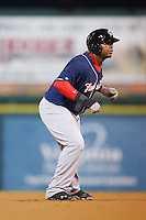 Mike McDade (40) of the New Hampshire Fisher Cats takes his lead off of second base against the Richmond Flying Squirrels at The Diamond on June 13, 2014 in Richmond, Virginia.  The Fisher Cats defeated the Flying Squirrels 6-3.  (Brian Westerholt/Four Seam Images)