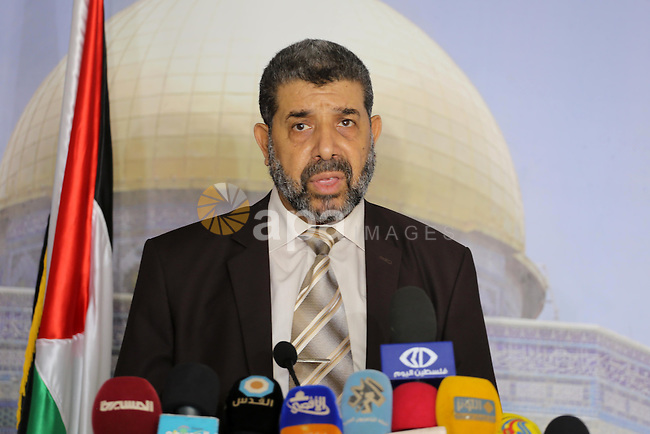 Head of the Jerusalem Committee of the Legislative Council Ahmed Abu Halabiya, speaks during a news conference in Gaza City on Oct 20, 2016. Photo by Mohammed Asad