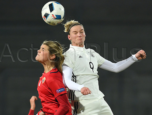 29.11.2016. Chemnitz, Germany.  Germany's Alexandra Popp (R) and Norway's Andrine Hegerberg challenge for the ball in the women's international football match between Germany and Norway in the community4you Arena in Chemnitz, Germany, 29 November 2016.