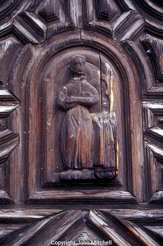 Carved door of the Templo  de la Concepcion in San Miguel de Allende, Mexico