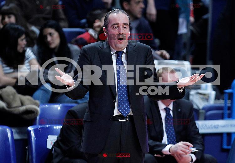 Asefa Estudiantes' coach Txus Vidorreta during Liga Endesa ACB match.January 6,2012. (ALTERPHOTOS/Acero) /NortePhoto