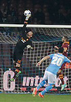 Morgan De Sanctis   in action during the Italian Serie A soccer match between SSC Napoli and AS Roma   at San Paolo stadium in Naples, March 09 , 2014