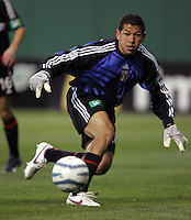 9 April 2005.  DC United goalkeeper Nick Rimando keeps his eye on the ball at RFK Stadium in Washington, DC.