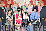Li-Juan & John Doyle, Knocknagoshel, seated centre having a wonderful time at the Christening celebrations for their daughter Jade at The Ballyroe Heights Hotel on Sunday. Front l/r Jennifer Lynch, Jennifer Doyle, Bradley Lynch..seated l/r  Jacklin Lynch, Li-Juan, Jade John & James Doyle and Tom Lynch..standing l/r Paddy Hickey, Maurien Harris, Caterina Brosna, Shelia Halpin, Margaret Enright, Breda O'Larey , Eileen Walsh, Fr. Sugrue, Kalthleen Doyle and Ger Brosna.Spellings as given by John Doyle............................................................................................................................................................................................. ............