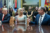 United States President Donald J. Trump, and First Daughter and Advisor to the President Ivanka Trump are briefed by Administrator, National Aeronautics and Space Administration (NASA) Jim Bridenstine at the White House in Washington, DC before congratulating NASA astronauts Jessica Meir and Christina Koch after they conducted the first all-female spacewalk outside of the International Space Station on Friday, October 18, 2019.<br /> Credit: Chris Kleponis / Pool via CNP