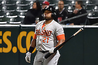 Jon Singleton (21) of the Fresno Grizzlies on deck against the Salt Lake Bees in Pacific Coast League action at Smith's Ballpark on April 13, 2016 in Salt Lake City, Utah. The Grizzlies defeated the Bees 6-0. (Stephen Smith/Four Seam Images)