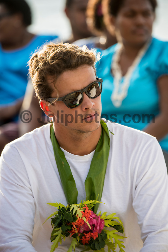 Namotu Island Resort, Nadi, Fiji (Saturday, June 4 2016): Julian Wilson (AUS) - The  2016 Fiji  Pro Opening Ceremony was held to day on Tavarua Island with a tradition kava ceremony to welcome all the surfers. Kelly Slater dedicated this event to the memory of Chief Druku who passed away late last year. Photo: joliphotos.com