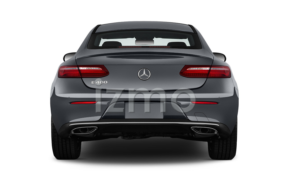 Straight rear view of a 2018 Mercedes Benz E Class Executive 2 Door Coupe stock images