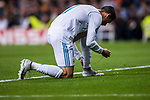 Cristiano Ronaldo of Real Madrid tries on his boots during the UEFA Champions League 2017-18 match between Real Madrid and Tottenham Hotspur FC at Estadio Santiago Bernabeu on 17 October 2017 in Madrid, Spain. Photo by Diego Gonzalez / Power Sport Images