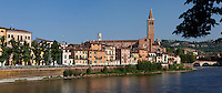 General view of the Adige River with the Basilica of Saint Anastasia, c.1290-1400, by the Dominican friars Fra' Benvenuto da Imola and Fra' Nicola da Imola, Verona, Italy. The brick built Sant'Anastasia is Italian Gothic in style. It was restored 1878-81. Picture by Manuel Cohen.