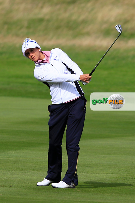Azahara Munoz of Team Europe on the 2nd during Day 2 Fourball at the Solheim Cup 2019, Gleneagles Golf CLub, Auchterarder, Perthshire, Scotland. 14/09/2019.<br /> Picture Thos Caffrey / Golffile.ie<br /> <br /> All photo usage must carry mandatory copyright credit (© Golffile | Thos Caffrey)