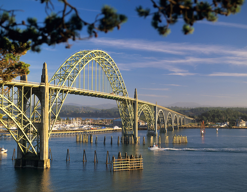 Newport Bay Bridge with boats, Oregon.